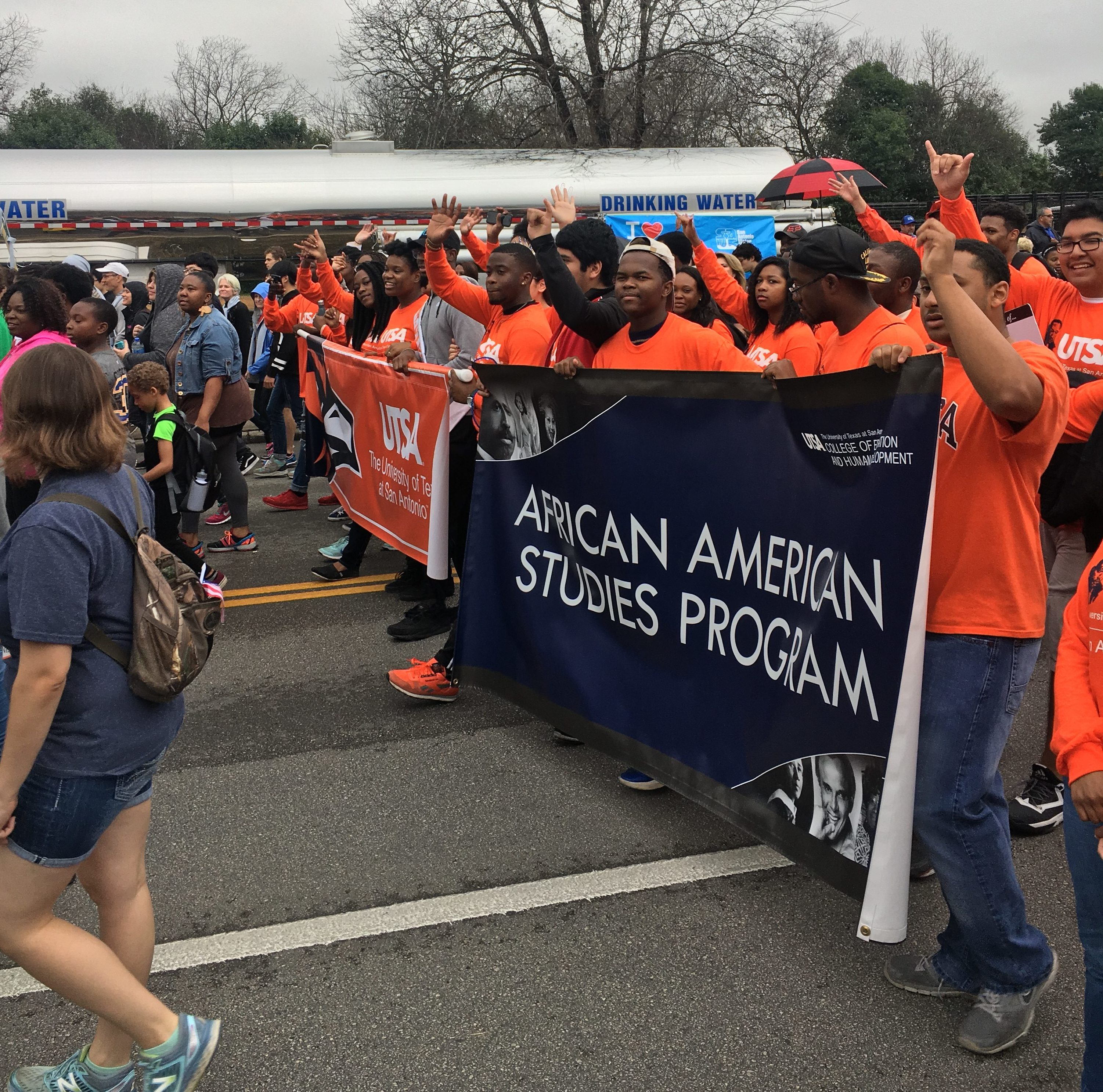 African American Studies Program students march with rowdy pride during the MLK march. Isaac Serna, The Paisano