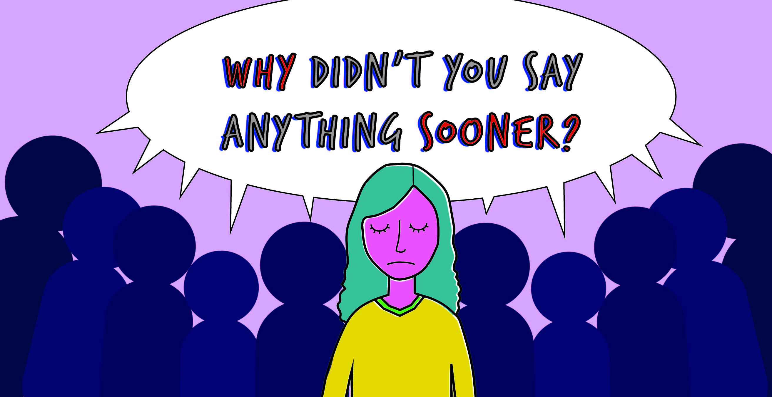 """Image of women surrounded by a crowd saying """"Why didn't you say anything sooner?"""""""