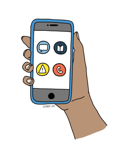 A hand holding a smartphone with various apps