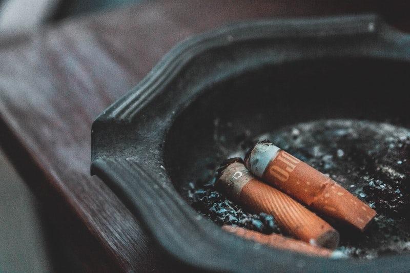 Cigarettes in a cigarette dish