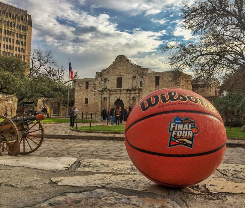 Final Four basketball in front of the Alamo.