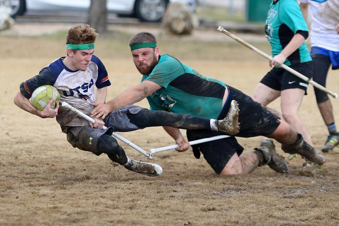 Quidditch player takes a hard fall.