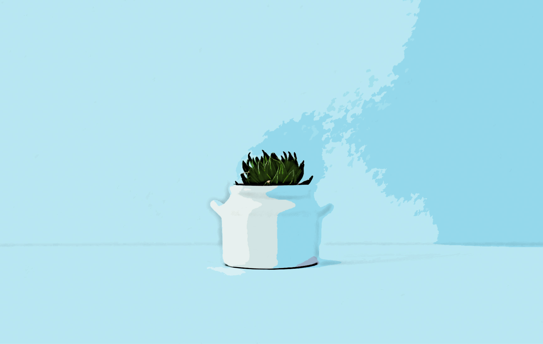 Graphic of a succulent in a vase.